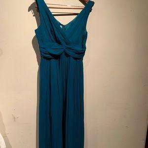 100% silk -full length teal dress